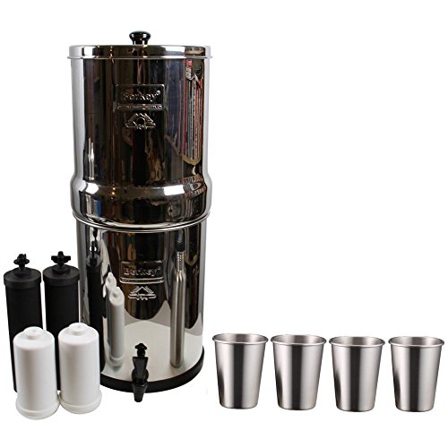 Berkey Royal Water Filter System (3 Gallons) w/2 Black Purifier Filters and 2 Fluoride Filters (PF2) Bundled with 1-set of 4 Stainless Steel Cups