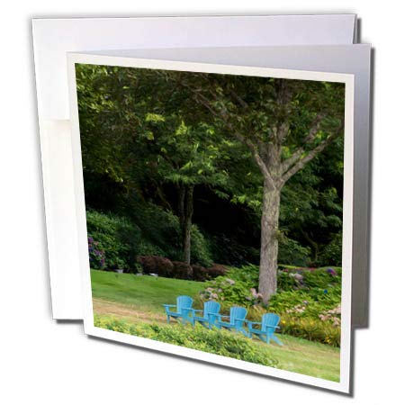 - 3dRose Roni Chastain Photography - Blue Chairs - 12 Greeting Cards with envelopes (gc_295331_2)