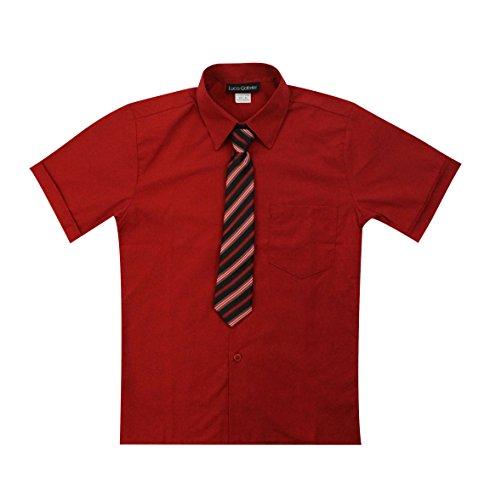 Luca Gabriel Toddler Boy's Short Sleeve Formal Button Down Dress Shirt & Tie Set - Red -
