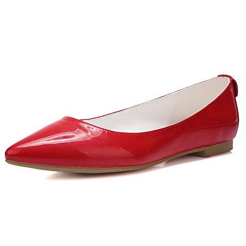 Zapatos De Tacón Bajo Sólidos Para Mujer Allhqfashion Pull On Pointed Pumps-Zapatos Rojo