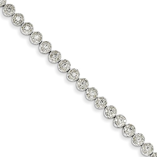 (14k White Gold Diamond Circle Link Bracelet 7 Inch Fancy Fine Jewelry Gifts For Women For Her)