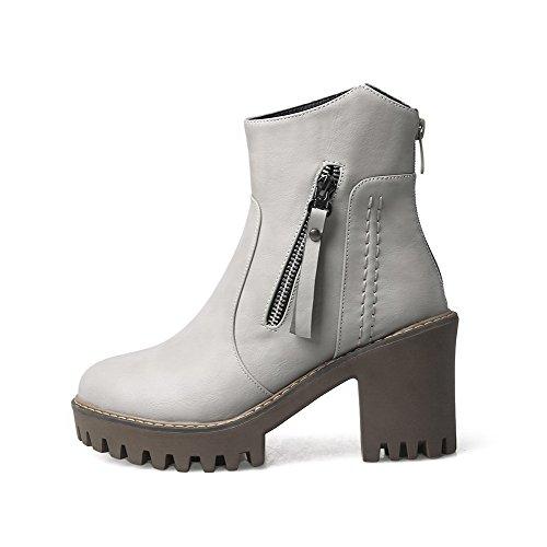 Women's Boots Gray High Low PU Solid Top Heels AgooLar Zipper Tnvzwq8dBB