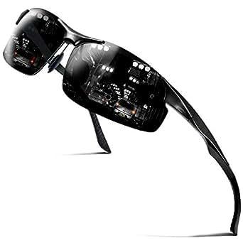 COSVER Men's Polarized Sports Sunglasses for Men Driving Cycling Running Fishing Golf Unbreakable Frame Metal Glasses 8003 (Black)