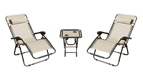 Akari 3 Piece Deluxe 2 Pack Zero Gravity Chairs and Folding Table Cup Holder Set, Cream by Akari