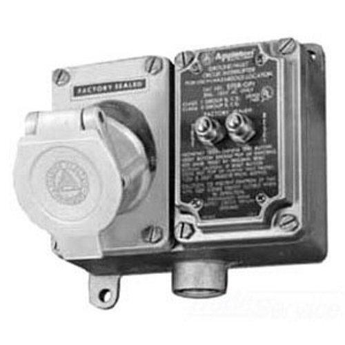 Appleton EFS210A-2023GFI GFI Receptacle Box, 125V, 20 Amp, DE, Aluminum, 1'' Hub