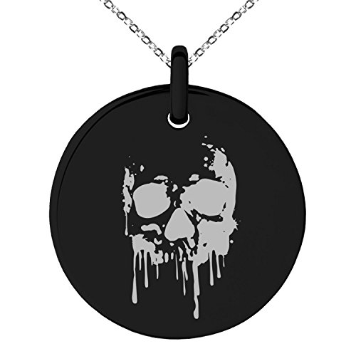 Black Stainless Steel Hades Greek God of Underworld Symbol Engraved Small Medallion Circle Charm Pendant Necklace