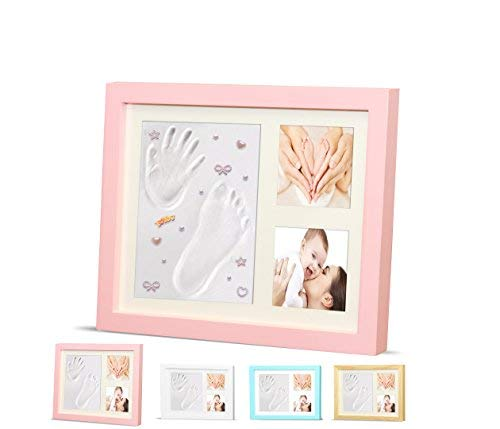 - Ninos Baby Handprint, Footprint and Wooden Picture Frame Kit – Memory Maker for Growing Infants and Toddlers – Soft, Nontoxic Clay – Best Baby Shower or Maternity Gift (Pink)