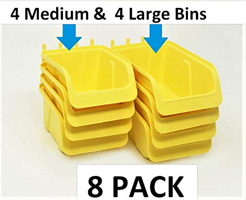 Pegboard Bins - Hook to Peg Board Panels - Organize, Hardware, Accessories, Baskets,Workbench, Garage, Storage, Crafts Pack has (12 Medium Black bins)