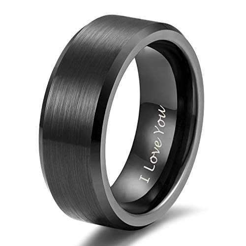 Shuremaster 8mm Black Tungsten Ring I Love You for Men Women Engraved Couple Wedding Band Comfort Fit Size 11
