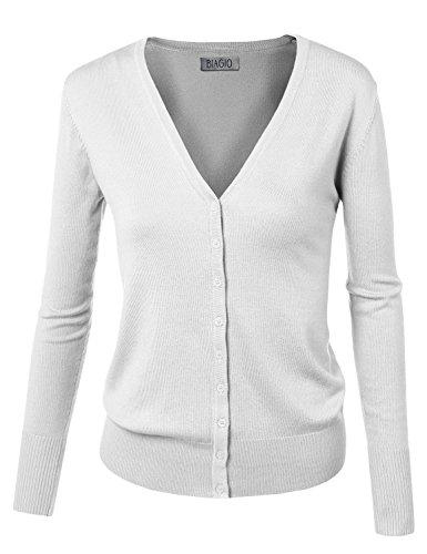 - BIADANI Women Button Down Long Sleeve Soft V-Neck Cardigan Sweater White Large
