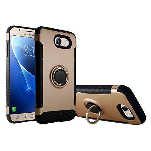 Galaxy J7 Prime 2017 Case, Galaxy J7 V Case Slim Drop Protection Cover, Ring Grip Holder Stand, Ready for Magnetic Car Air Vent Mount For Samsung Galaxy J7 V, J7 Perx, J7 Sky Pro, J7 2017 (Gold)