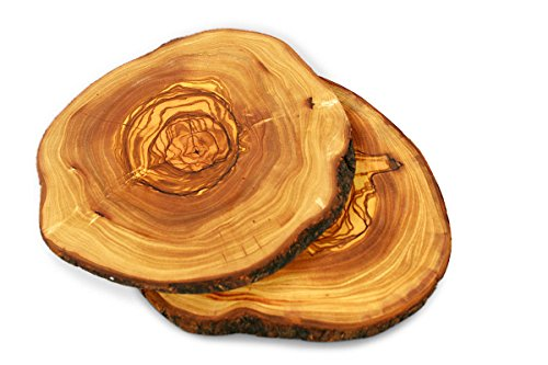 (Tramanto Olive Wood Serving Plates, Natural Raw Edge (Set of Two))