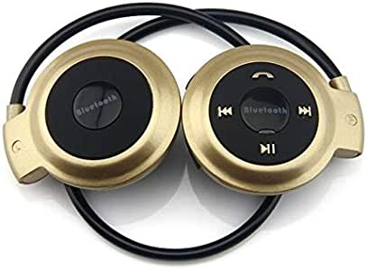 Digital Media Players NVAHVA MP3 Player Bluetooth Headphone, Wireless MP3 Player with FM Radio, Stereo Earphone TF Card MP3 Max to 32GB (Color : Gold)