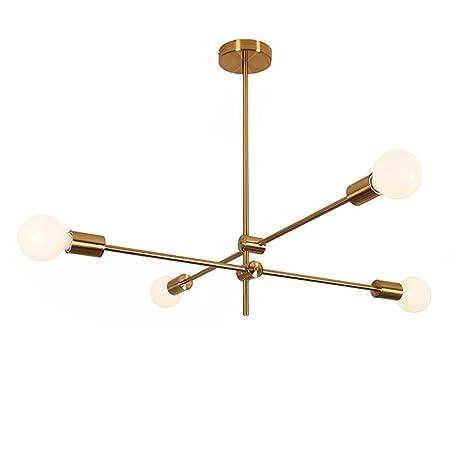 FUSKANG Modern Sputnik Araña de iluminación Latón Cepillado ...