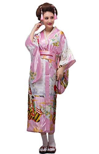 Soojun Women's Traditional Japanese Kimono Style Robe Yukata Costumes 3 Pink