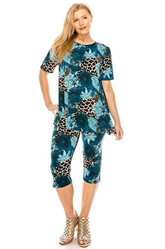 Jostar Women's Stretchy Capri Pant Set Short Sleeve Print Small Taupe Abstract ()