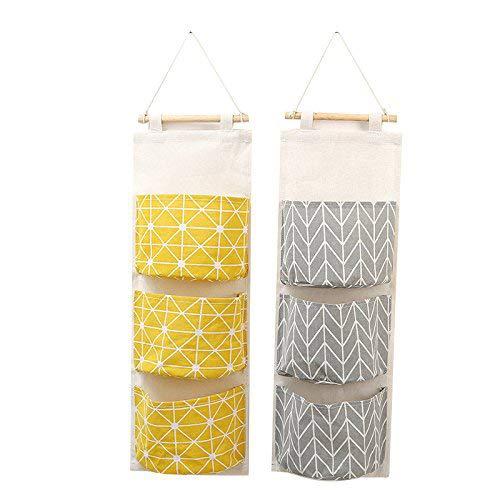 Rou-shot Hanging Storage Bag, Durable Linen Cotton Fabric 3 Pockets Wall Door Closet Hanging Storage Bag, Perfect Home Organizer, 23'' H x 8'' W (yellow+gray) by Rou-shot