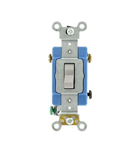 Amp, 120/277 Volt, Toggle 3-Way AC Quiet Switch, Extra Heavy Duty Grade, Self Grounding, Back and Side Wired, Gray ()