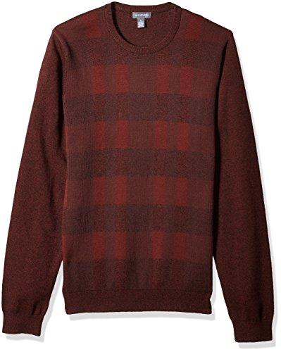 (Van Heusen Men's Plaid Crewneck Sweater,Burgundy Wine,Small)