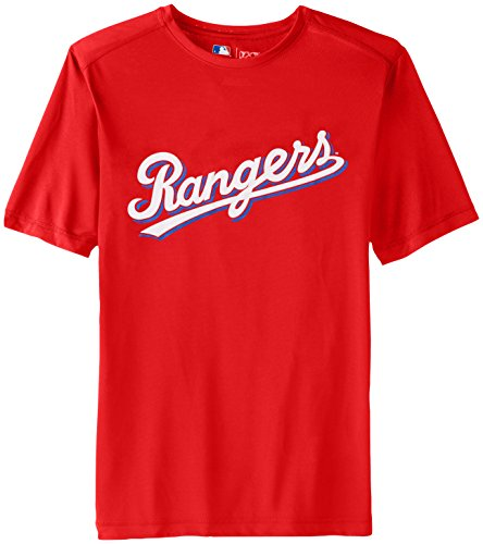 MLB Texas Rangers Men's Synth Mass Workmark Tee, Red, - Ter Texas