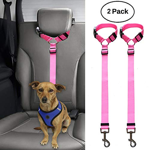 (BWOGUE 2 Packs Dog Cat Safety Seat Belt Strap Car Headrest Restraint Adjustable Nylon Fabric Dog Restraints Vehicle Seatbelts Harness)