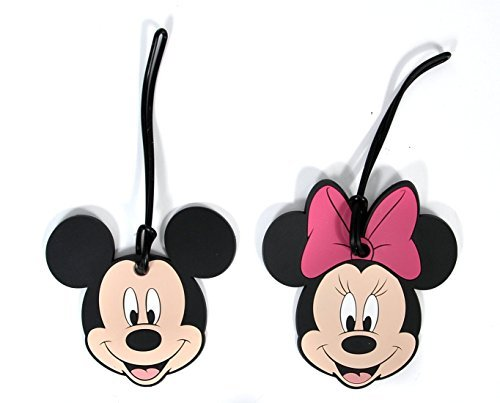 Tags Mickey (2 Pack Disney Luggage Suitcase Tags Mickey & Minnie Mouse Faces PVC)