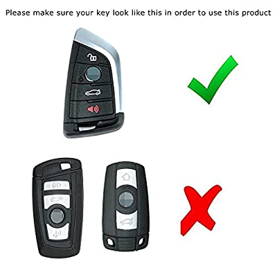 iJDMTOY M-Colored Stripe Black Carbon Fiber Pattern Leather Key Holder with Keychain Compatible With 2016-up BMW X1, 2020-up X4, 2014-up X5, 2015-up X6, 2020-up 5 Series & 2016-up 7 Series Remote Fob: Automotive