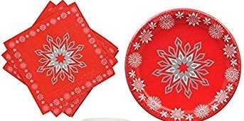 Red Christmas Snowflakes Paper Plates (36) Napkins (40)  sc 1 st  Amazon.com & Amazon.com: Red Christmas Snowflakes Paper Plates (36) Napkins (40 ...