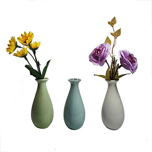 (Set of 3 Decorative Miniature Bud Vases,Ceramic Bottle,Ideal Gift for for Home Office, Decor, Table Vases, Bookcase Ornaments Bottles(Multi 3 Colors))
