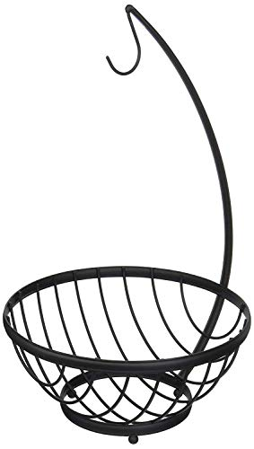 Spectrum Diversified Ashley Fruit Bowl with Banana Holder, Small, Black