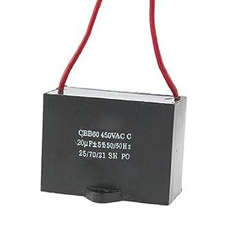 DealMux 0.02mF 20uf 450VAC 50 / 60Hz 2 Ventilador fio metalizado ...
