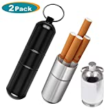 Joint Case Holder,Smell Proof Case Doob Tube Container Waterproof Keep Herbs Fresh for Travel,Camping (Black/Silver)