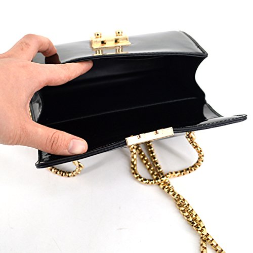 Leather Chain Crossbody Bag Shoulder Fashion Bag Black Patent Glossy Women YAOSEN Bag UCnxq4tE6