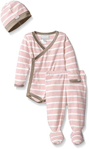 Coccoli Baby Girls' Pink Contrast Rib Knit Cotton Kimono Set, Heather Pink/Cream Stripes, 1 Months (Stripe Knit Layette)