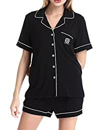 Womens KnitSleepwear Short Sleeves Pajama Set With Shorts by NORA TWIPS(XS-XL)