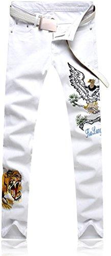 Mjb118 Pantaloni Casual Denim Tendenze Stampa Uomo Jeansian Uomini Sottile white Moda Jeans w1gSAnvq