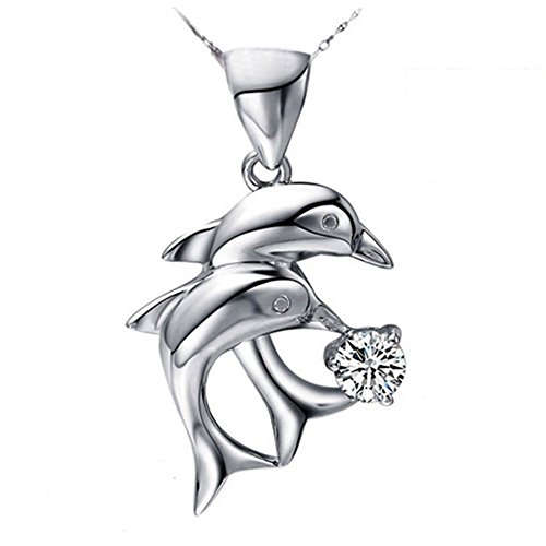 - WillowswayW Women's Double Dolphins Shape Pendant Rhinestone Inlaid Charm for Jewelry Necklace Decor