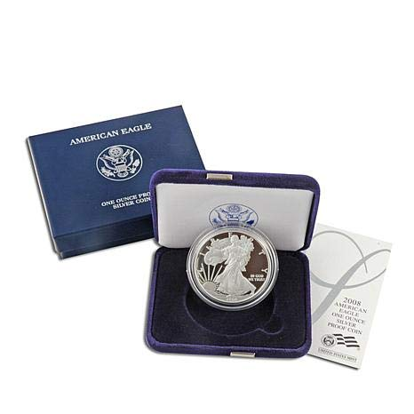 Case and COA 2008 American Eagle One Ounce Silver Proof Coin with Box
