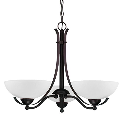 Langdon Mills Bordeau 3-Light Burnished Oil Rubbed Bronze Chandelier White Tureen Shades 26-inch (Tureen Antique)