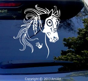 Horse Decal - WAR HORSE - Equestrian -I Love my Horse - Native American Tribal Horse Bumper Sticker Decal- RIGHT. X LARGE 7.6