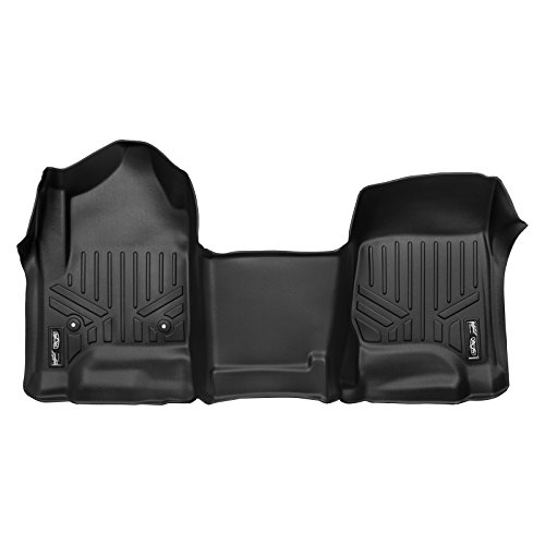 MAXFLOORMAT Floor Mats 1st Row One Piece Mat Black for 2014-2018 Silverado/Sierra 1500 - 2015-2018 Silverado/Sierra 2500/3500 (With No Center Console and No Regular Cabs)