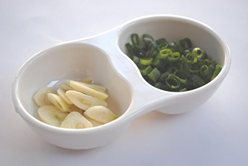 Z-Moments Melamine 2-Compartment Divided Plastic Sauce Dishes, Ivory, 24-pcs per case (2 dozen)