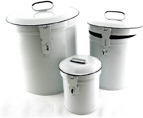 Merveilleux Amazon.com   French Country Canister Set ~ Kitchen Storage Canisters E2~  Decorative Containers ~ White Retro Enamel   Kitchen Storage And  Organization ...