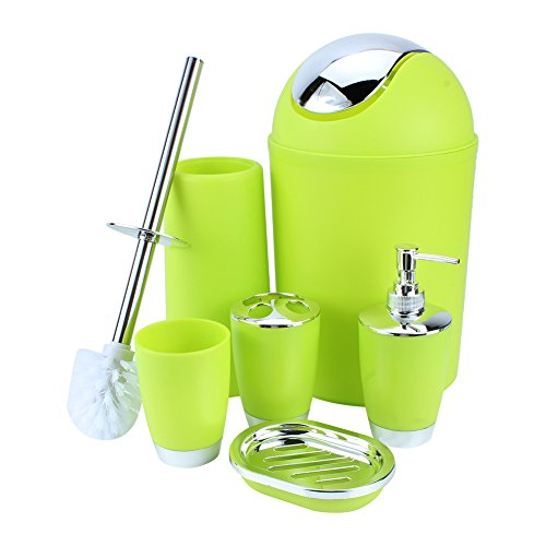 6 Piece Bathroom Accessories Set,Plastic Bath Ensemble Bath Set Lotion Bottles, Toothbrush Holder, Tooth Mug, Soap Dish, Toilet Brush, Trash Can,Green