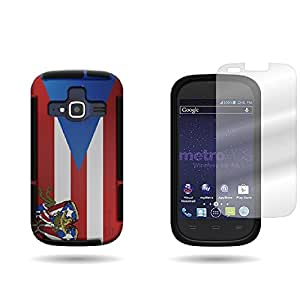 CoverON Hybrid TPU & Hard Plastic Dual Layer Case + Clear Screen Protector for ZTE Concord II - Puerto Rico Flag