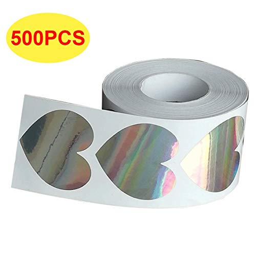 (Metallic Silver Heart Stickers - 2