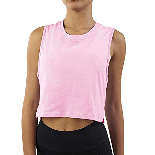 iZHH Shirt for Women Crop Top Sleeveless Racerback Workout Gym Solid Shirt Yoga Athletic Tank Pink by iZHH (Image #1)