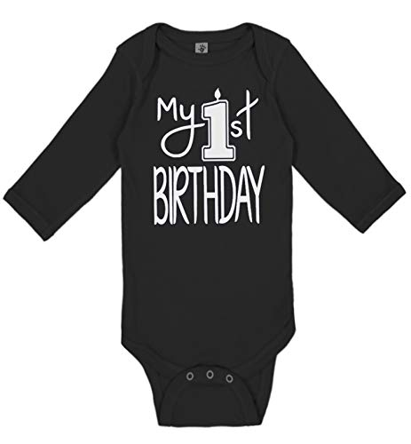 Reaxion Aiden's Corner Handmade First Birthday Baby Clothes - Baby Boys My 1st Birthday Bodysuits Shirts and Outfits (18 Months, Candle White Black LS) -