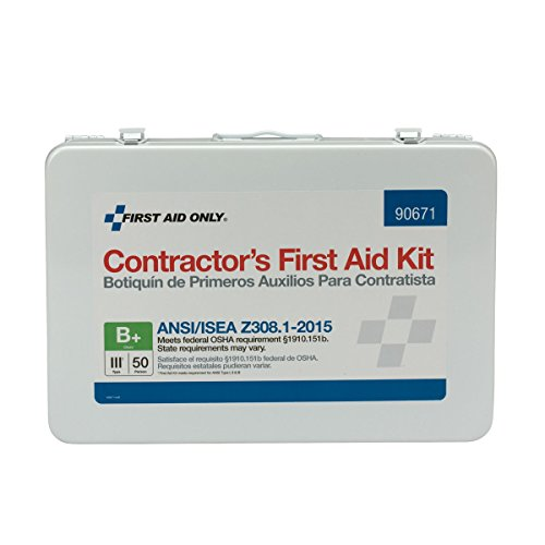 Pac-Kit by First Aid Only 90671 50 Person ANSI B+, Contractor First Aid Kit, Metal, Weatherproof