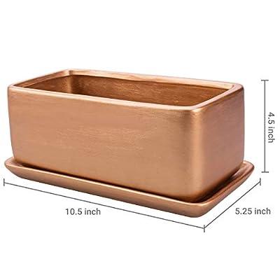 MyGift 10-Inch Rectangular Copper-Tone Ceramic Succulent Planter Pot/Window Box with Saucer : Garden & Outdoor